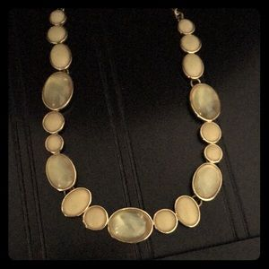 Jewelry - Gold and light tan jeweled necklace.